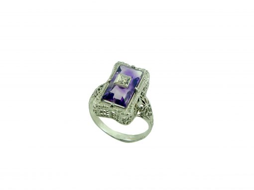 Ring-14ct Amethyst Diamond