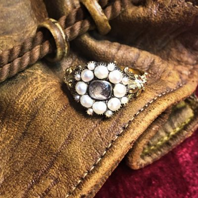 Georgian Mourning Ring with Pearls