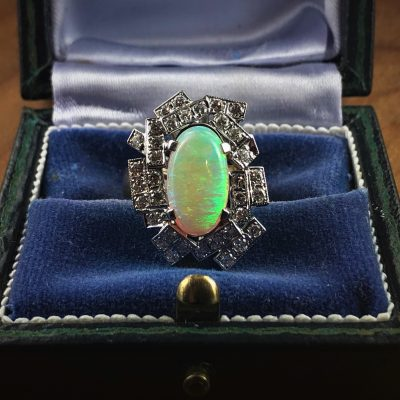 Opal and Diamond Dress Ring In Box