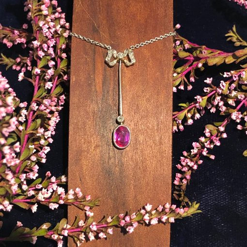Edwardian Ruby Pendant in Platinum