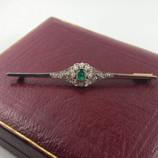 Emerald & Diamond Bar Brooch